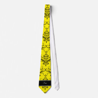 Personalized name Yellow damask Neck Ties