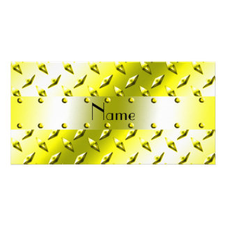 Personalized name yellow diamond plate steel custom photo card