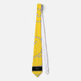 Personalized name yellow diamond swirls neck tie