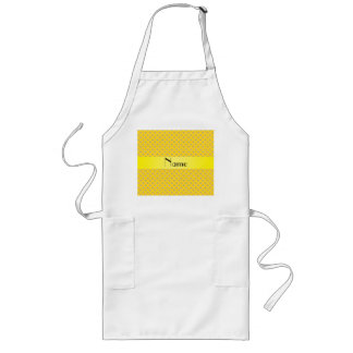 Personalized name yellow diamonds aprons