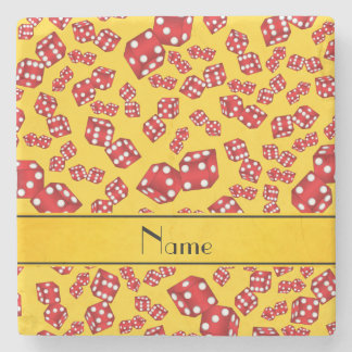 Personalized name yellow dice pattern stone coaster