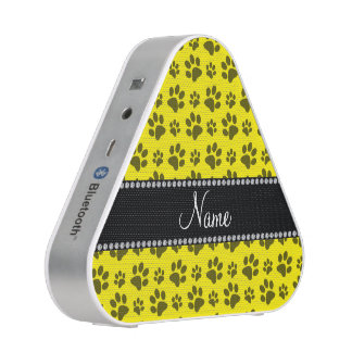 Personalized name yellow dog paw print bluetooth speaker