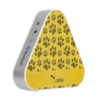 Personalized name yellow dog paws speaker