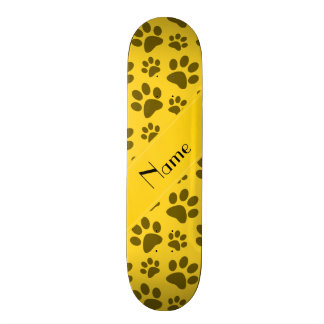Personalized name yellow dog paws skateboards