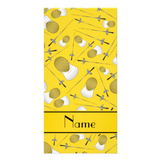 Personalized name yellow fencing pattern personalized photo card