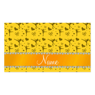 Personalized name yellow figure skating business card