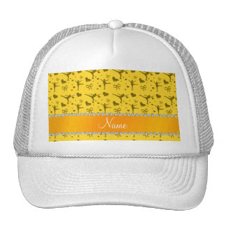 Personalized name yellow figure skating trucker hats