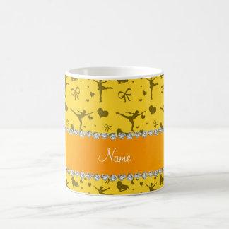 Personalized name yellow figure skating coffee mugs