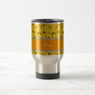 Personalized name yellow figure skating coffee mug