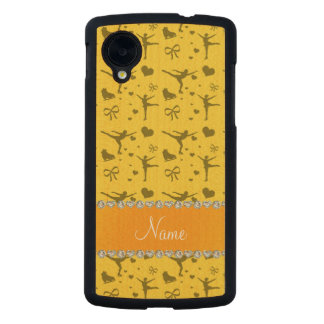 Personalized name yellow figure skating carved® maple nexus 5 slim case