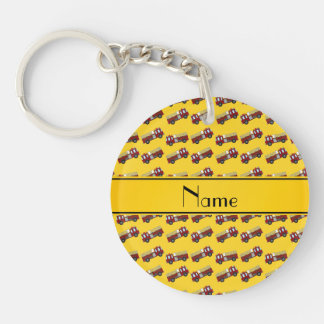 Personalized name yellow firetrucks key chain