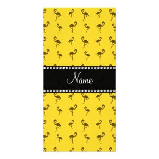 Personalized name yellow flamingos customized photo card