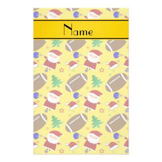 Personalized name yellow football christmas customized stationery