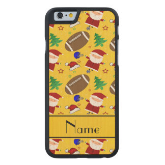 Personalized name yellow football christmas carved® maple iPhone 6 case
