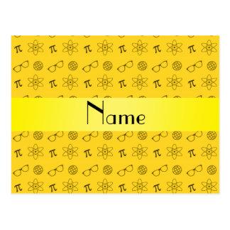 Personalized name yellow geek pattern postcard