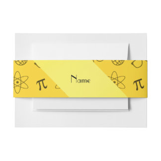 Personalized name yellow geek pattern invitation belly band