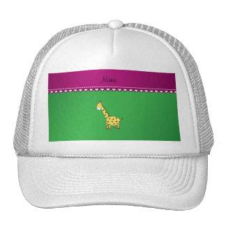 Personalized name yellow giraffe green pink stripe mesh hat