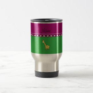 Personalized name yellow giraffe green pink stripe mugs