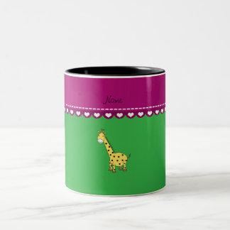 Personalized name yellow giraffe green pink stripe coffee mugs