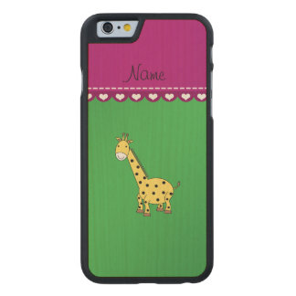 Personalized name yellow giraffe green pink stripe carved® maple iPhone 6 case