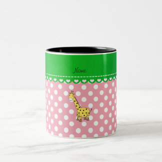 Personalized name yellow giraffe pink polka dots mug
