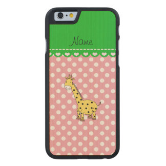 Personalized name yellow giraffe pink polka dots carved® maple iPhone 6 slim case