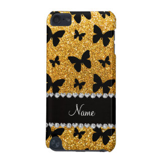 Personalized name yellow glitter butterflies iPod touch 5G cover