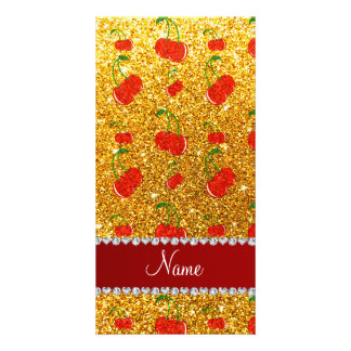 Personalized name yellow glitter cherries personalized photo card