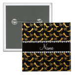 Personalized name yellow glitter high heels bow pinback button