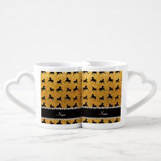 Personalized name yellow glitter horses lovers mug