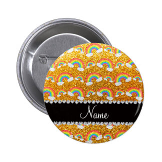 Personalized name yellow glitter rainbows 6 cm round badge