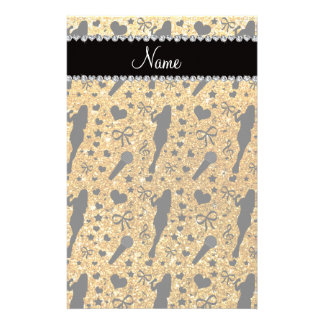 Personalized name yellow glitter singer personalized stationery