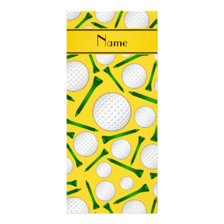 Personalized name yellow golf balls tees customized rack card