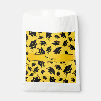 Personalized name yellow graduation cap favour bags