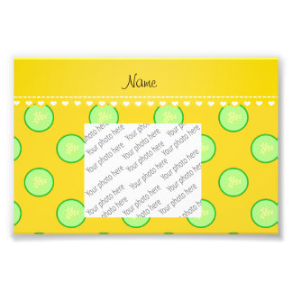 Personalized name yellow green cucumber slice photo print