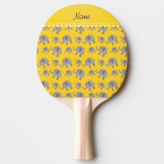 Personalized name yellow grey elephants ping pong paddle