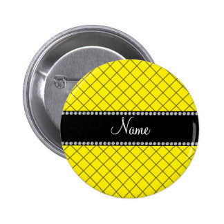 Personalized name yellow grid pattern 6 cm round badge