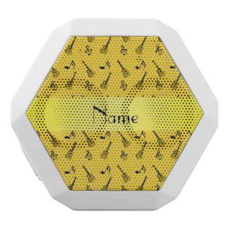 Personalized name yellow guitar pattern white boombot rex bluetooth speaker