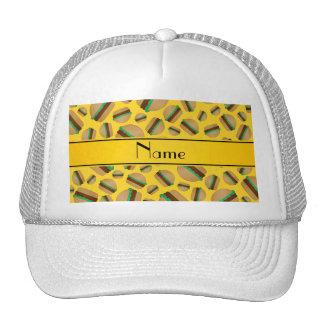 Personalized name yellow hamburger pattern trucker hats