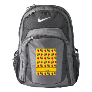 Personalized name yellow hamburgers fries dots backpack