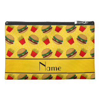 Personalized name yellow hamburgers fries dots travel accessory bag