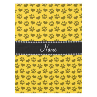 Personalized name yellow hearts and paw prints tablecloth
