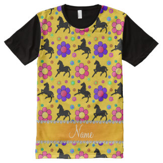 Personalized name yellow horses flowers pattern All-Over print T-Shirt