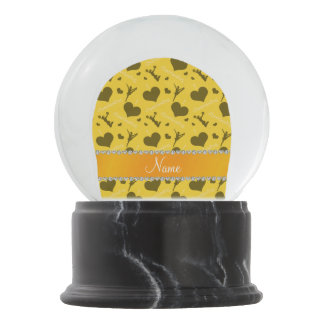 Personalized name yellow i love cheerleading heart snow globes