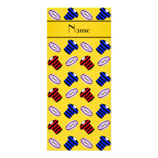 Personalized name yellow jerseys rugby balls customized rack card