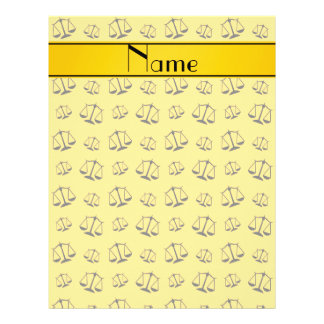 Personalized name yellow justice scales 21.5 cm x 28 cm flyer