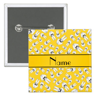 Personalized name yellow karate pattern buttons