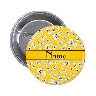 Personalized name yellow karate pattern button
