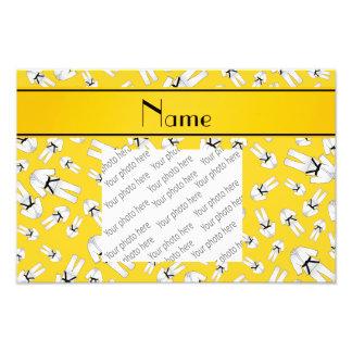 Personalized name yellow karate pattern photo art