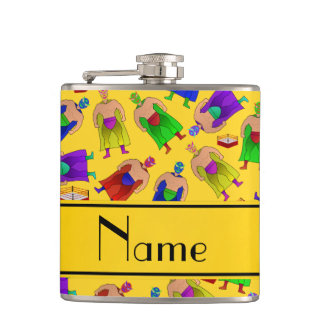 Personalized name yellow mexican wrestling hip flask